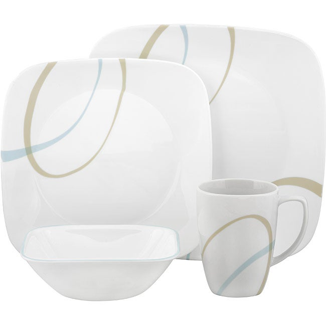 Corelle u0026#x27;Sand and Skyu0026#x27; 16-piece Square Dinnerware  sc 1 st  Overstock & Shop Corelle u0027Sand and Skyu0027 16-piece Square Dinnerware Set - Free ...