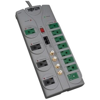 Tripp Lite Eco Surge Protector Green 120V RJ11 RJ45 Coax 12 Outlet 10