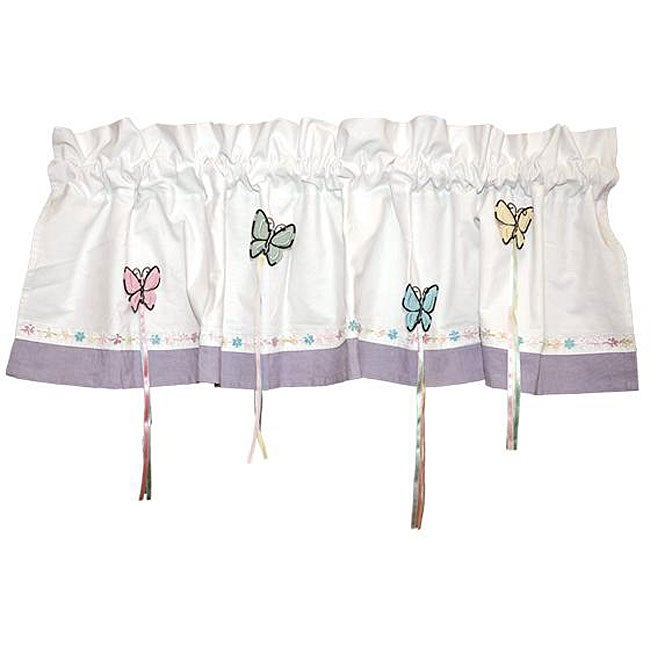 Bedtime Butterfly Window Valance, White (All Cotton, Anim...
