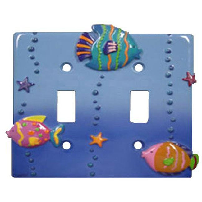 Fish Playground Double Switch Plates (Set of 6), Blue
