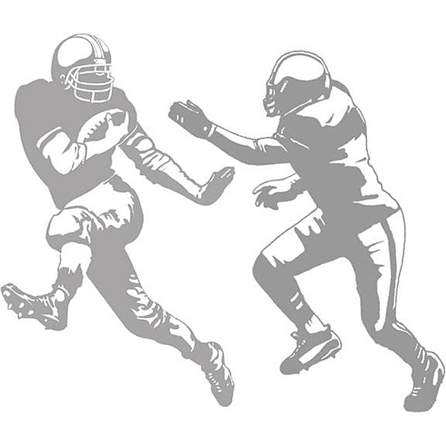 Football Running Back and Tackle Sudden Shadows Wall Decal Set