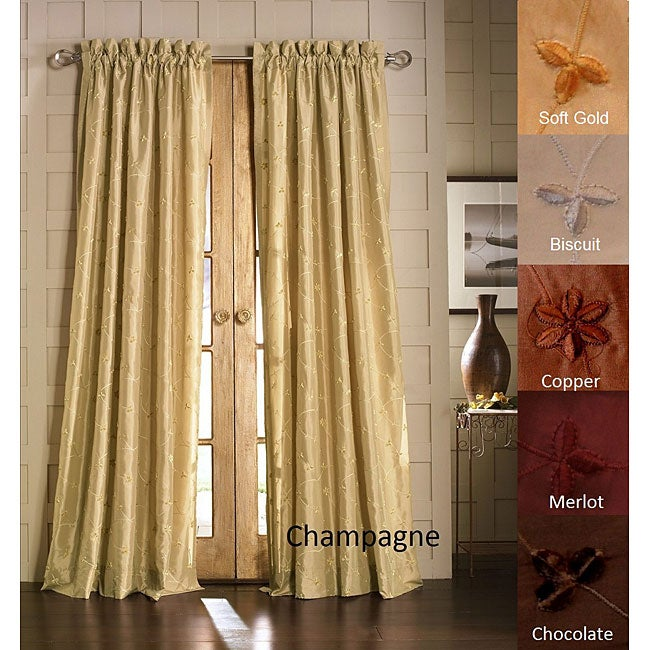 Lambrequin Jasmine Embroidered Taffeta-lined Curtain Panel - Thumbnail 0