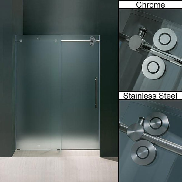 Vigo 48-inch Frameless Sliding Frosted Glass Shower Door