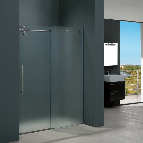 VIGO 60 Inch Frameless Frosted Glass Sliding Shower Door