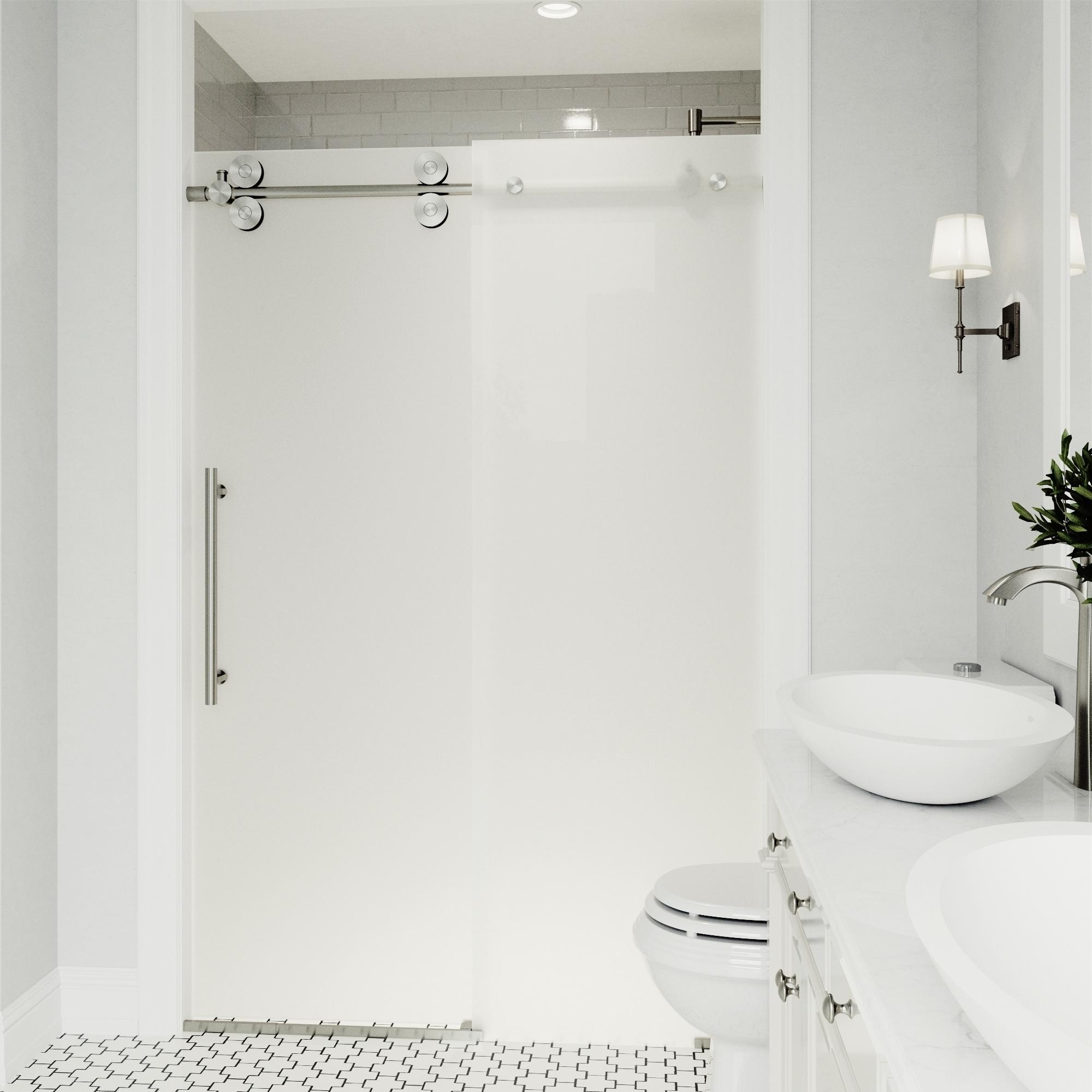 Details About Vigo Elan Frosted Adjustable Frameless Sliding Shower Door Left Sided Door Stain