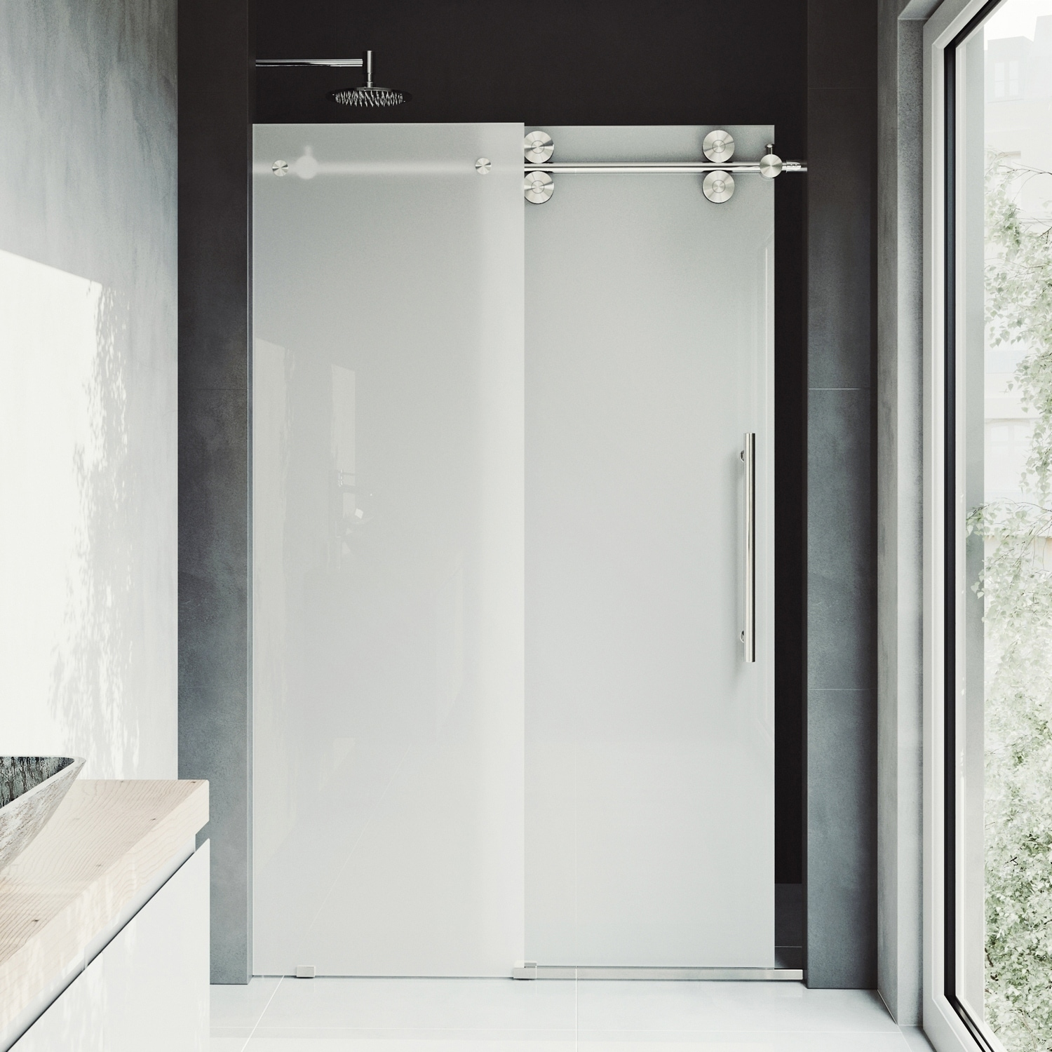 Vigo Elan Frosted Adjustable Frameless Sliding Shower Door