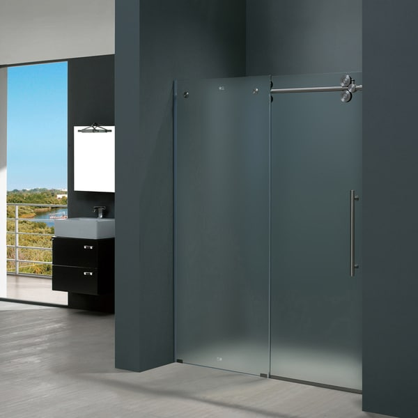 Vigo 60 Inch Frameless Frosted Glass Sliding Shower Door Free Shipping Today Overstock Com