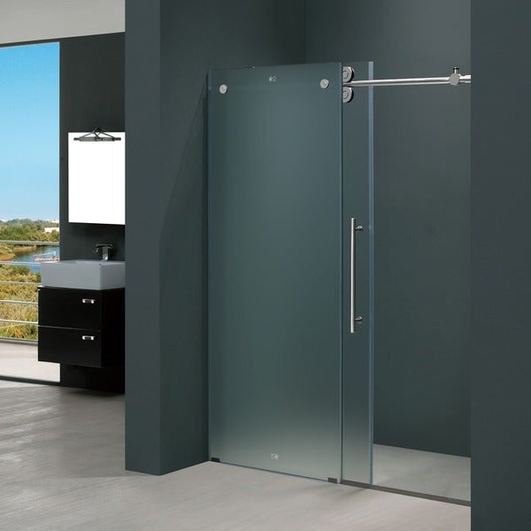 Vigo 72 Inch Frameless Frosted Glass Sliding Shower Door