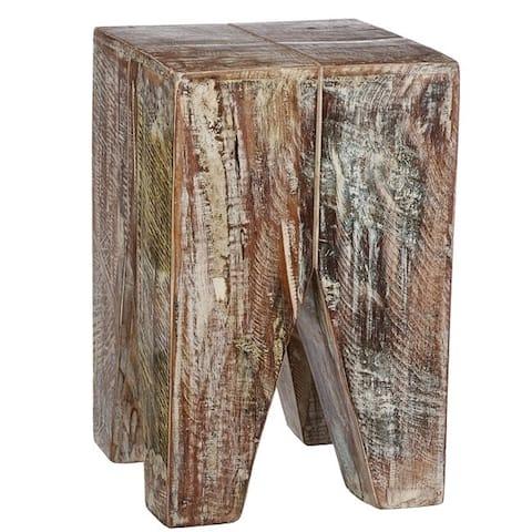Handmade Whitewashed Stripped Wood Stool (India)