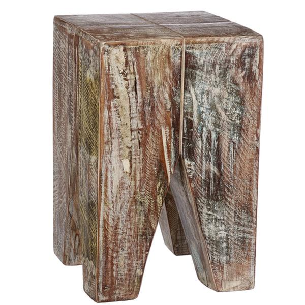 Whitewashed Stripped Wood Stool