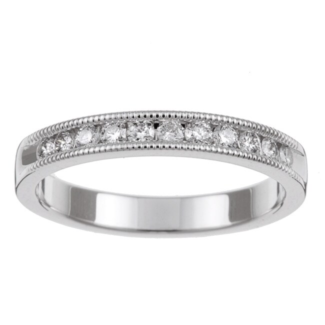 Unending Love 14k White Gold 1/4ct TDW Diamond Miligrain Wedding Band (H-I, I1-I2)