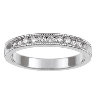 Unending Love 14k White Gold 1/4ct TDW Diamond Miligrain Wedding Band