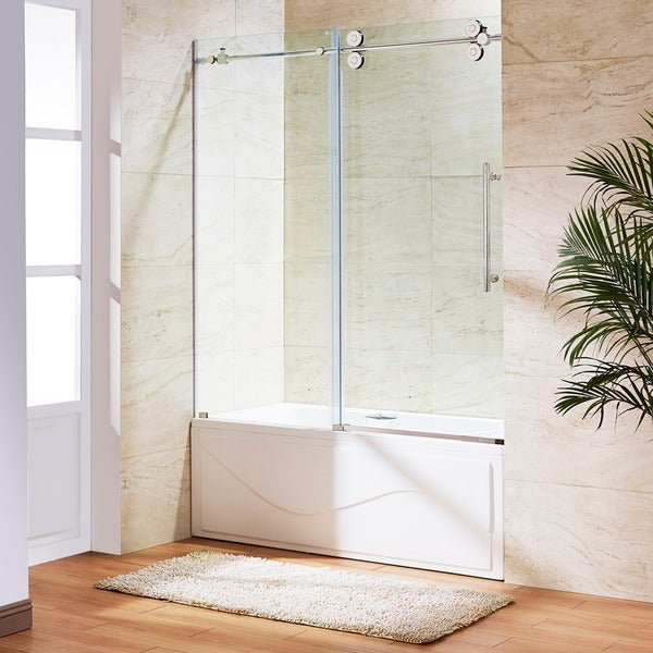 VIGO 60-inch Clear Glass Frameless Tub Sliding Door - 60\