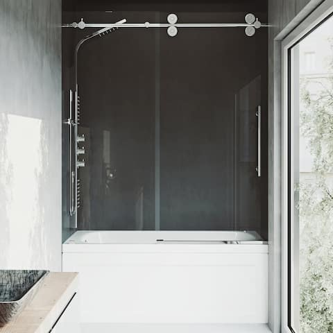 VIGO Elan Clear Frameless Adjustable Sliding Tub Door