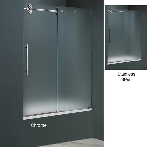 Shop Vigo 60 Inch Frameless Frosted Glass Sliding Tub Door Free