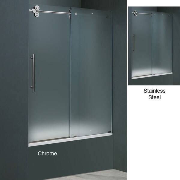 Shop Vigo  Inch Frameless Frosted Glass Sliding Tub Door Free