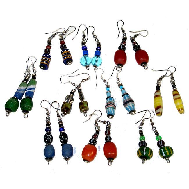 Pack of 10 Pair Glass and Resin Beaded Earrings (Kenya)