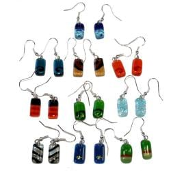 Pack of 10 Pair Small Rectangle Fused Glass Earrings (Chile)