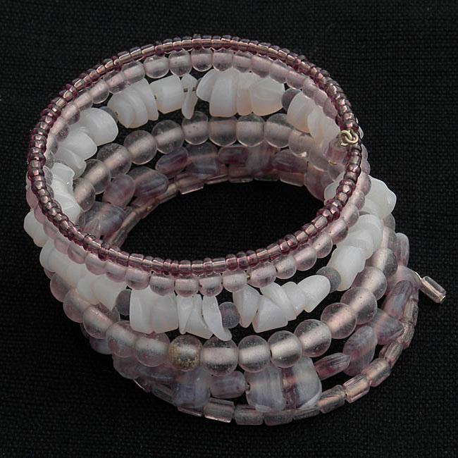 Handmade Five-turn Wire and Purple Glass Bead Bangle (India)