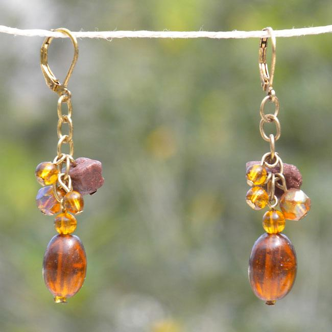 Delicate Amber Glass Bead Earrings (India)