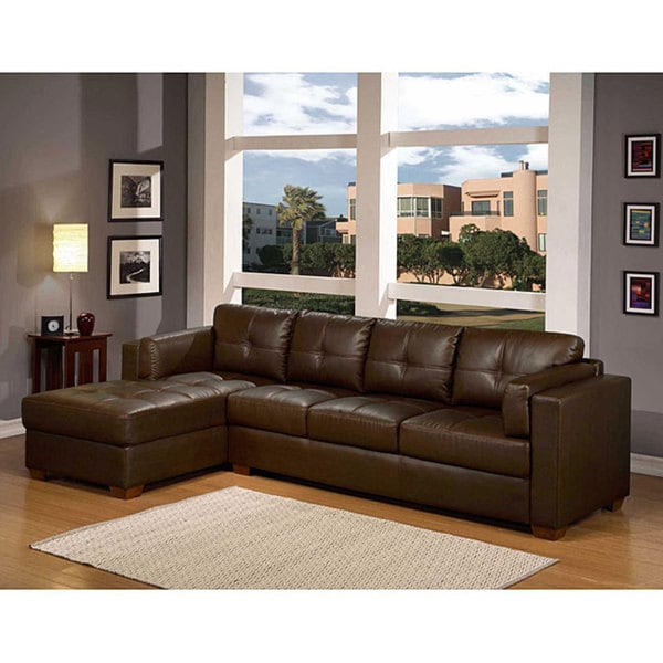 Furniture Of America Clic Dioceltian Leather Sectional Chaise Lounge