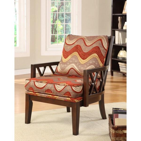Furniture of America Pasadena Dark Walnut Upholstered Accent Chair