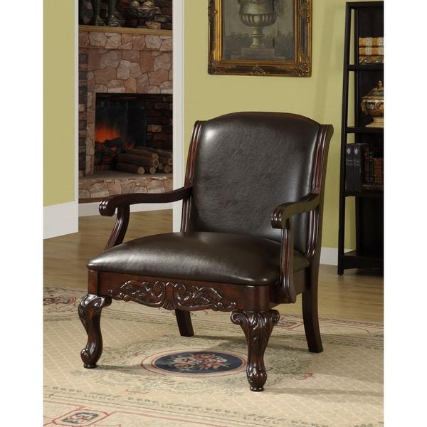 Furniture of America Antique Dark Cherry Accent Chair - Furniture Of America Antique Dark Cherry Accent Chair - Free