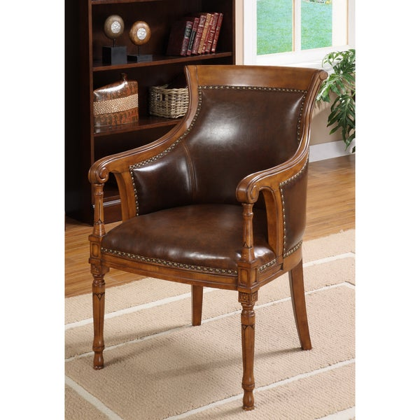 Furniture of America Antique Oak Accent Chair