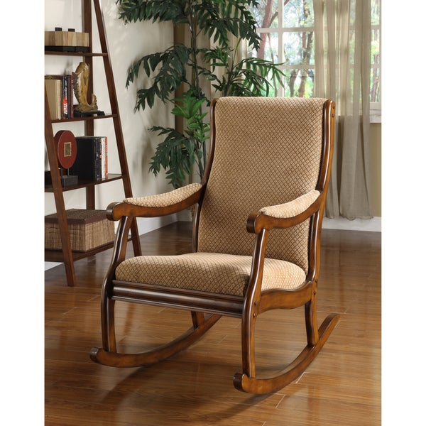 Furniture of America Antique Warm Oak Finish Wood/Fabric Upholstered  Rocking Chair - Shop Furniture Of America Antique Warm Oak Finish Wood/Fabric