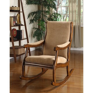 Furniture of America Antique Warm Oak Finish Wood/Fabric Upholstered Rocking Chair