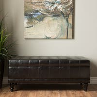 Furniture of America Espresso Flip-top Bicast Leather Storage Bench