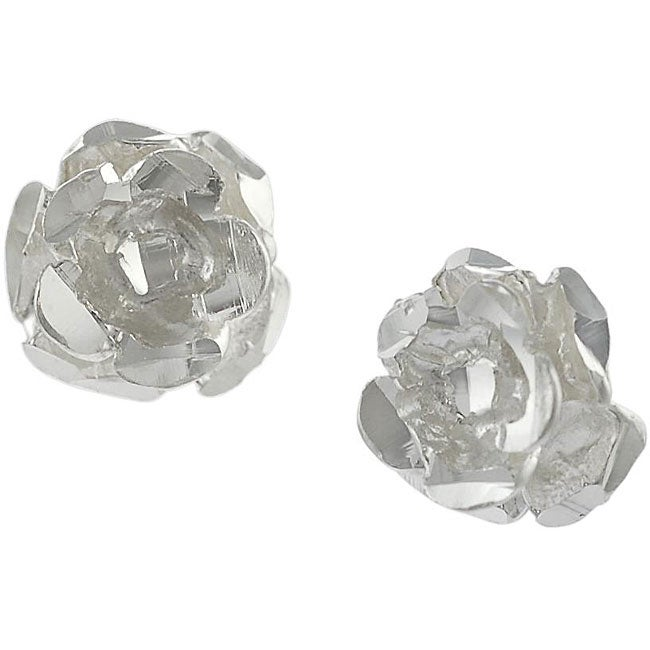 Journee Collection  Sterling Silver Rose Stud Earrings