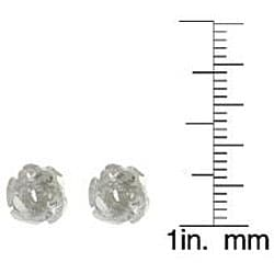 Journee Collection  Sterling Silver Rose Stud Earrings - Thumbnail 2
