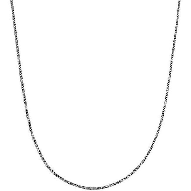 Fremada 14k White Gold 18-inch Twisted Box Chain Necklace (0.7 mm)