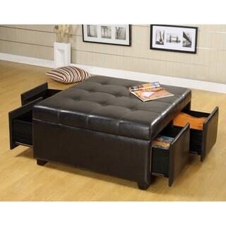 Furniture of America Jeef Contemporary Espresso Faux Leather Ottoman