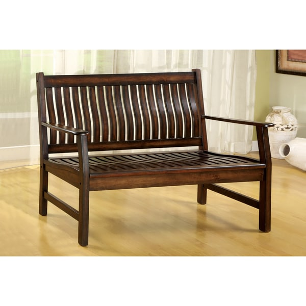 Furniture of America Dark Walnut Finish Curved Slat-back Bench