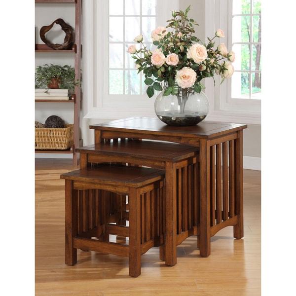Furniture of America Oak Finish 'Lola' Nesting End Tables (Set of 3) - Multi