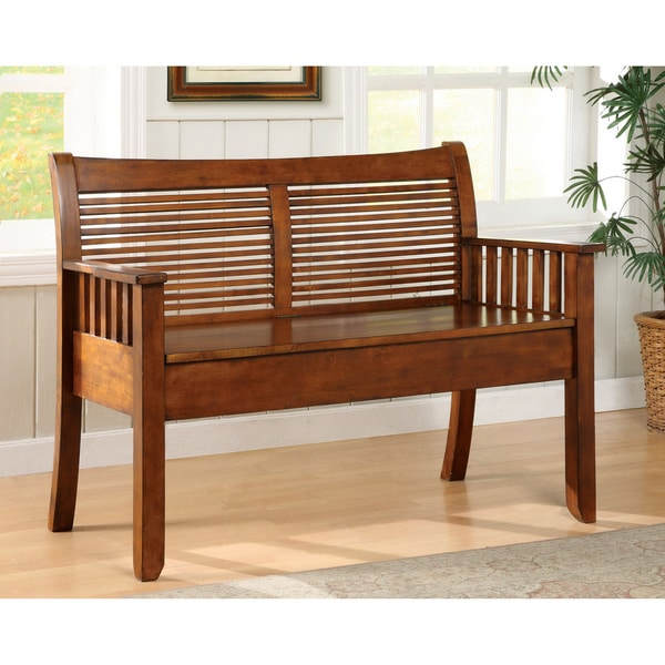 Furniture of America Solid Wood Storage Bench