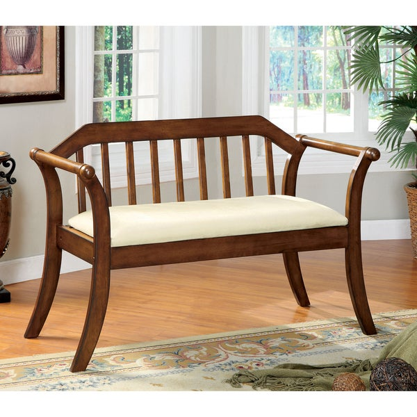 Furniture of America Oak Finish Fence-style Padded Wood Bench - Free ...