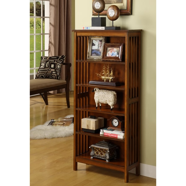 Furniture of America Oak Finish Solid Birch Frame Bungalow Media Shelf