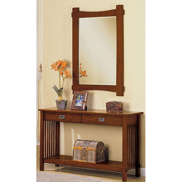 Hallway Console Table And Mirror furniture of america oak finish hallway console table and mirror