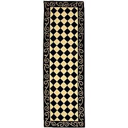 Safavieh Hand-hooked Diamond Black/ Ivory Wool Runner (2'6 x 14')