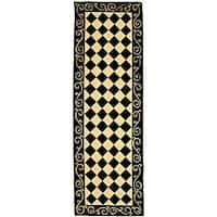 Safavieh Hand-hooked Diamond Black/ Ivory Wool Runner Rug - 2'6 x 14'