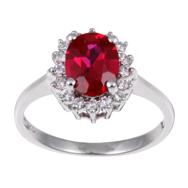 Sterling Silver Oval Red Cubic Zirconia Ring