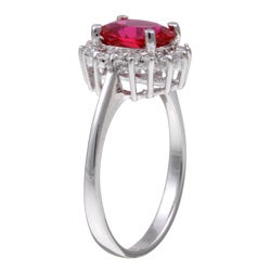 Sterling Silver Oval Red Cubic Zirconia Ring - Thumbnail 1
