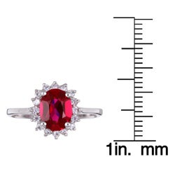 Sterling Silver Oval Red Cubic Zirconia Ring - Thumbnail 2