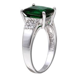 Sterling Essentials Sterling Silver Green Cubic Zirconia Ring - Thumbnail 1
