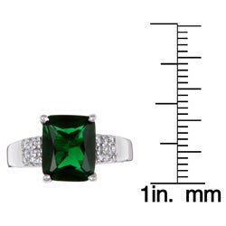 Sterling Essentials Sterling Silver Green Cubic Zirconia Ring - Thumbnail 2