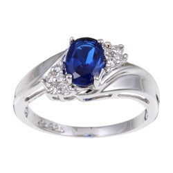 Sterling Essentials Sterling Silver Oval Blue Cubic Zirconia Ring