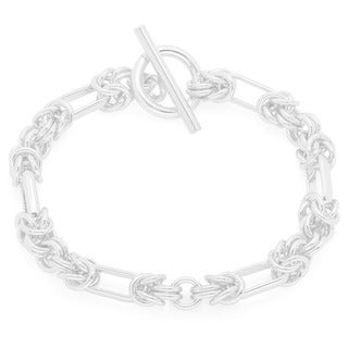 Sterling Silver Handmade Link Bracelet with Toggle Clasp ( 7.5 Inch)